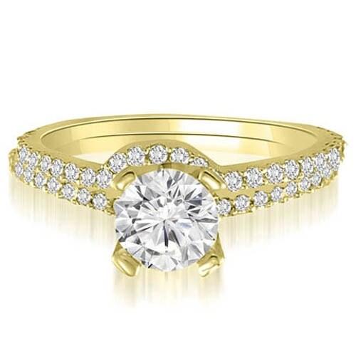 1.07 cttw. 14K Yellow Gold Classic Petite Round Cut Diamond Bridal Set