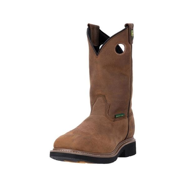 John Deere Work Boots Mens Pull On Composite Toe Welt Brown
