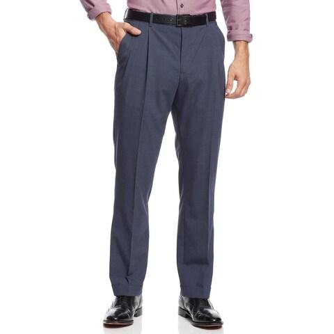 Nautica Mens Mini Check Pleated Pants 32x32 Blue Trousers