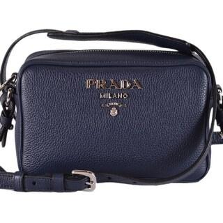 Prada 1BH096 Baltico Blue Leather Bandoliera Small Crossbody Purse Bag