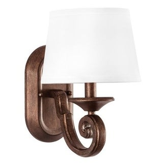 """Park Harbor PHWL3161 Mahogany Haven 8"""" Wide 2 Light Wall Sconce with Fabric Shade"""
