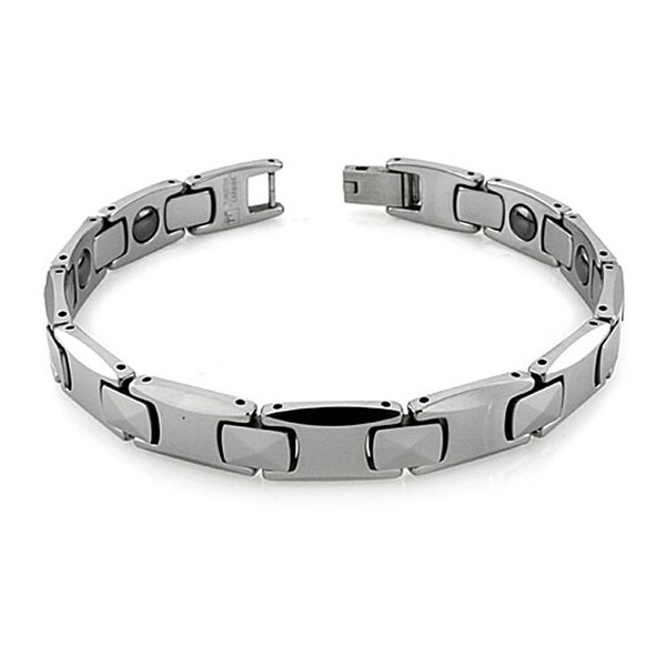 Tungsten Carbide Multi-Faceted Link Bracelet w/ Magnet - 8.25 inches