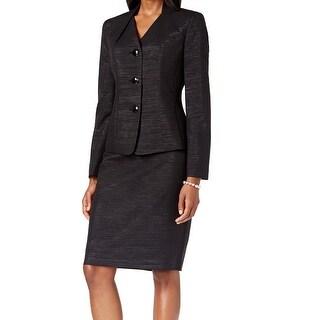 Le Suit NEW Black Shimmer Women's Size 16 2-Piece Skirt Suit Set