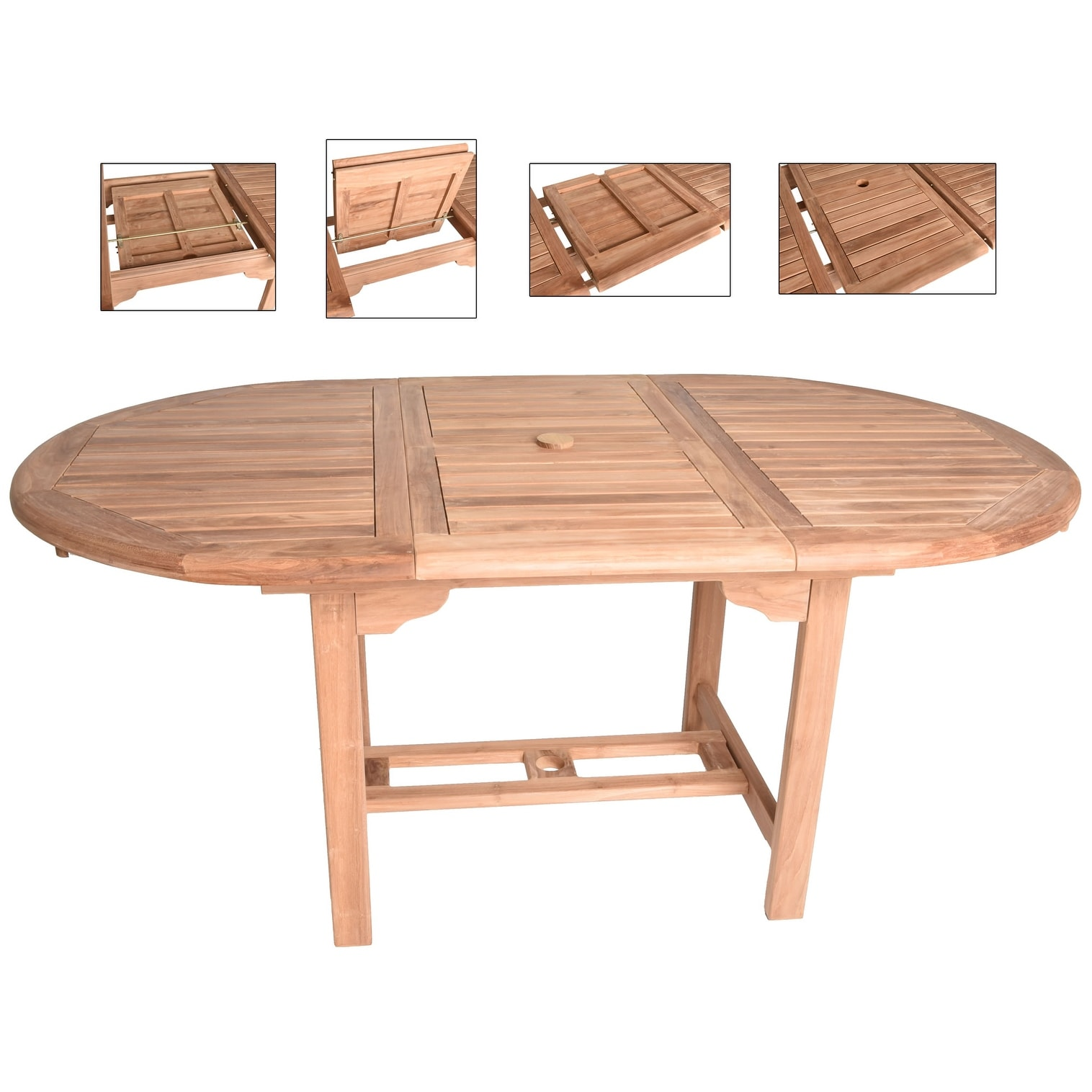 Teak Extendable Dining Table Oval