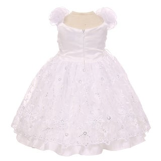Baby Girls White Embroidered Sequins Bolero Baptism Christening Dress 0-12M