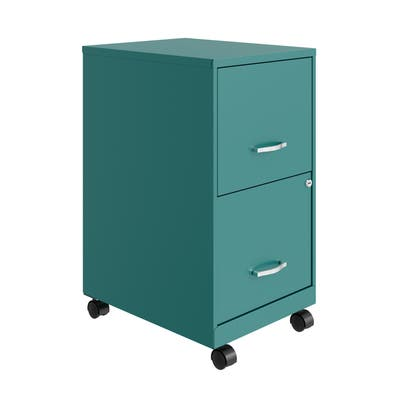 """Space Solutions 18"""" 2 Drawer Mobile Smart Vertical File Cabinet, Teal"""