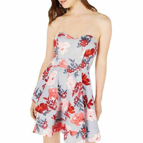 B. Darlin Red Size 2 Junior A-Line Dress Pleated Floral Strapless