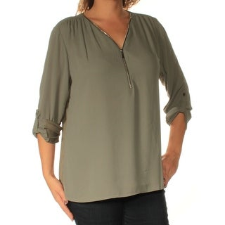 INC $59 Womens New 1450 Green Zip Neck 3/4 Sleeve Casual Top L B+B