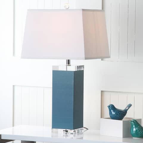"SAFAVIEH Lighting 26-inch Blue Deco Leather Table Lamp (Set of 2) - 14""x14""x27"""