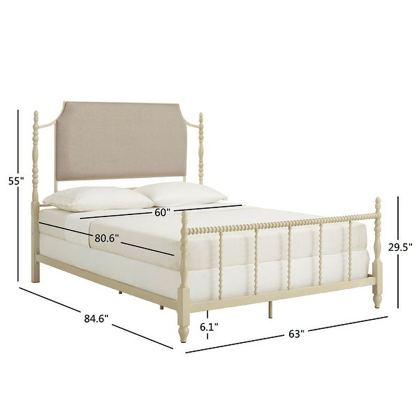 Maureen Sandstone and Taupe Linen Metal Queen Bed by iNSPIRE Q Bold