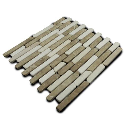 Miseno MT-L3RTWH Strip Mosaic Natural Stone Tile (9.9 SF / Carton) - Tan/White Blend