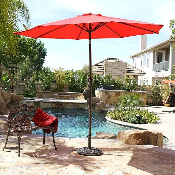 Belleze Crank To Open 9 Foot Outdoor Umbrella Uv Resistant Water Repellent Cover Shade Canopy Auto