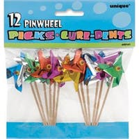 "Pinwheel Picks 4"" 12/Pkg-Assorted Colors"