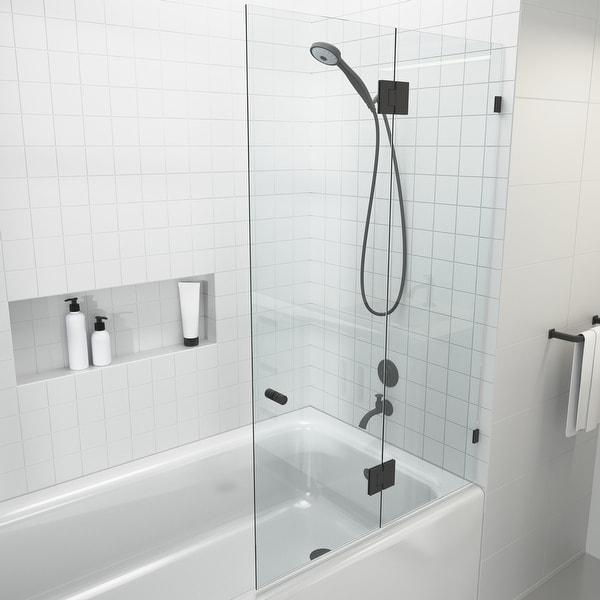 """Glass Warehouse 58.25"""" x 34"""" Frameless Shower Bath Door - Glass Hinge. Opens flyout."""