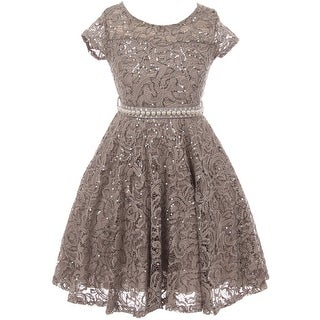 Cap Sleeve Floral Lace Glitter Flower Girl Dress Silver JKS 2102