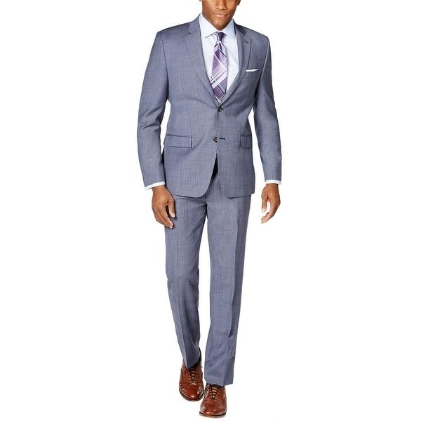 Ralph Lauren Slim Fit Blue Glen Plaid Wool 2pc Suit 42 Regular Pants 36W