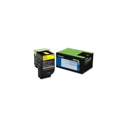 Lexmark 80C10Y0 Lexmark 801Y Yellow Return Program Toner Cartridge - Yellow - Laser - 1000 Page - 1 Each