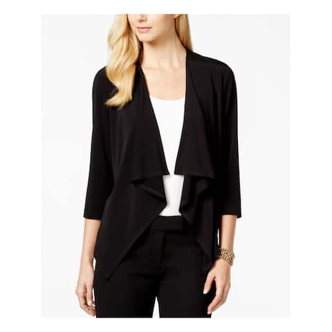 CONNECTED Womens Black 3/4 Sleeve Open Cardigan Top Petites Size: L