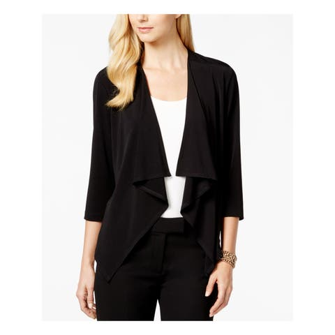 CONNECTED Womens Black 3/4 Sleeve Open Cardigan Top Petites Size: M