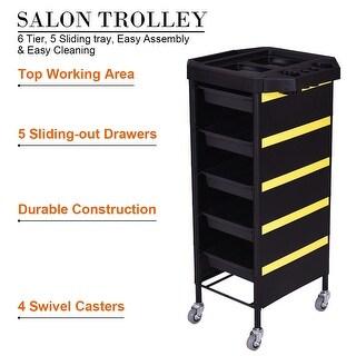 Costway Beauty Salon SPA Trolley Storage Tray Rolling Cart