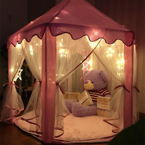 Kids Play House w/Little Star Lights Girls Hexagon Indoor Play Tent