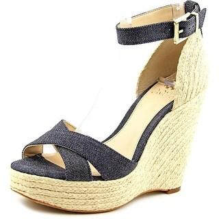Vince Camuto Maurita Women  Open Toe Canvas Blue Wedge Sandal
