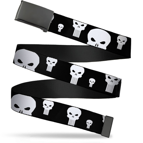 Blank Black Buckle Punisher Logo Scattered Black White Webbing Web Belt
