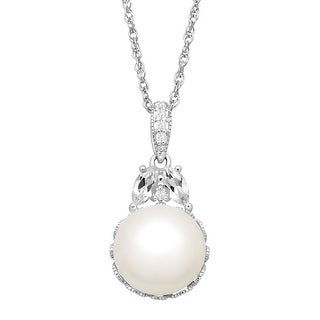 10 mm Freshwater Pearl & 3/8 ct Natural White Topaz Pendant in Sterling Silver
