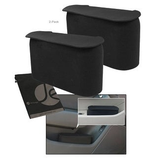 JAVOedge Black Small Car Trash Can With Lid, Flexible Material, Fits in Most Side Doors - black (2 pack)