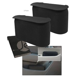 JAVOedge Black Small Car Trash Can With Lid, Flexible Material, Fits in Most Side Doors (2 options available)