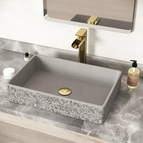 VIGO Magnolia White Matte Stone Vessel Bathroom Sink