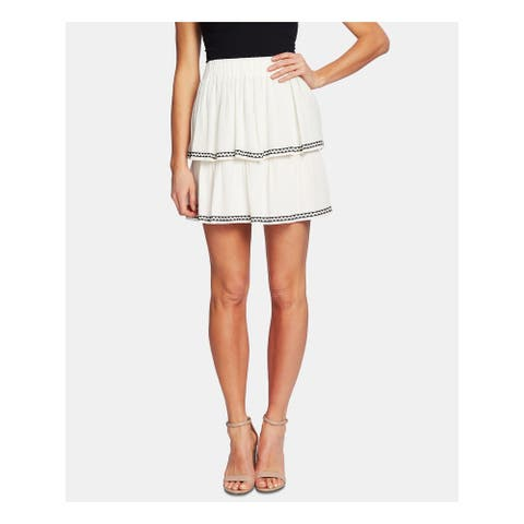 CECE Womens Ivory Mini Ruffled Skirt Size XL
