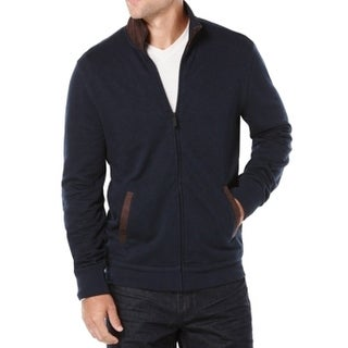 Perry Ellis NEW Navy Blue Brown Mens Size Small S Full-Zip Jacket