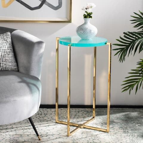"""Safavieh Couture Pluto Tall Round Acrylic End Table - 17.7""""x17.7""""x27.2"""""""