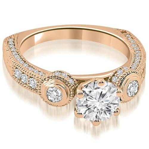1.18 cttw. 14K Rose Gold European Shank Three-Stone Diamond Engagement Ring