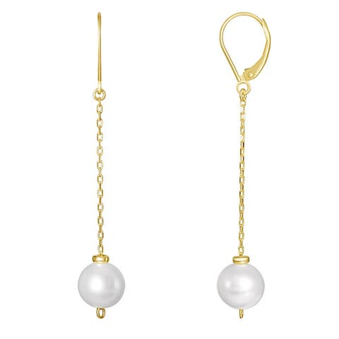 14K White Pearl Dangling Cable Chain Earrings