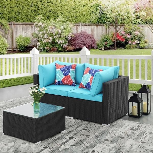 Ainfox 3pcs Outdoor Rattan Sectional Sofa- Patio Wicker Furniture Set. Opens flyout.