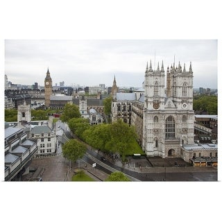 """""""Cityscape with Westminster Abby in foreground, London, England"""" Poster Print"""
