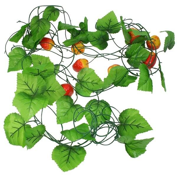 5 Pcs Green Leaf Emulation Strawberry Fruit Hanging Vine 7.5Ft Length