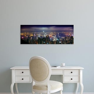 Easy Art Prints Panoramic Images's 'Aerial view of a city lit up at night, Hong Kong, China' Premium Canvas Art
