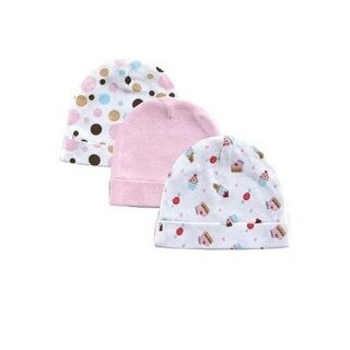 Luvable Friends Girls 0-6 Months Cupcake Cap - 3 Pack