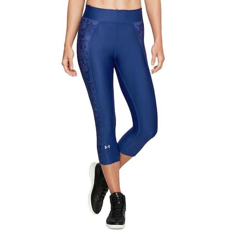 Under Armour HeatGear Women's Midrise Novelty Capri Leggings, (Blue XS)