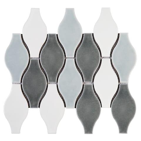 "TileGen. Bowling 4"" x 5"" Porcelain Mosaic Tile in Blue/White Floor and Wall Tile (10 sheets/8.2sqft.)"
