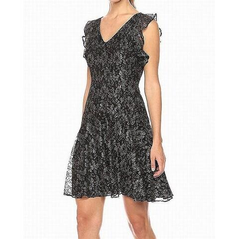 Tommy Hilfiger Black Women's Size 6 Metallic Fit & Flare Dress
