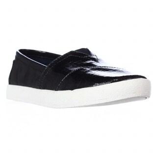 TOMS Avalon Casual Slip On Sneakers, Black Patent Linen - 5 us / 35.5 eu