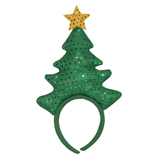 "14"" Green Felt Sequin Christmas Tree with Yellow Star Decorative Headband Costume Accessory"