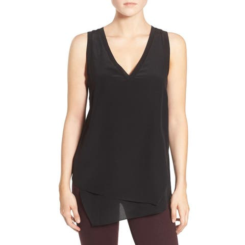 Trouve Jet Black Womens Size XS Silk Asymmetrical V Neck Blouse