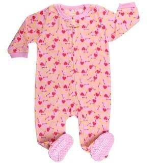 Elowel Baby Girls Pink Dog Food Print Footed Fleece Sleeper Pajama