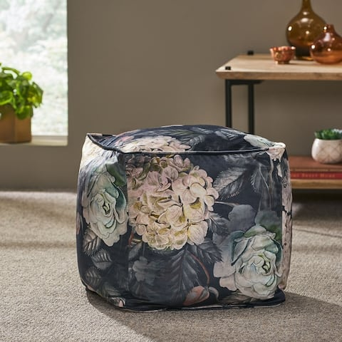 Reigle Traditional Medium Fabric Flower Print Cube Pouf by Christopher Knight Home