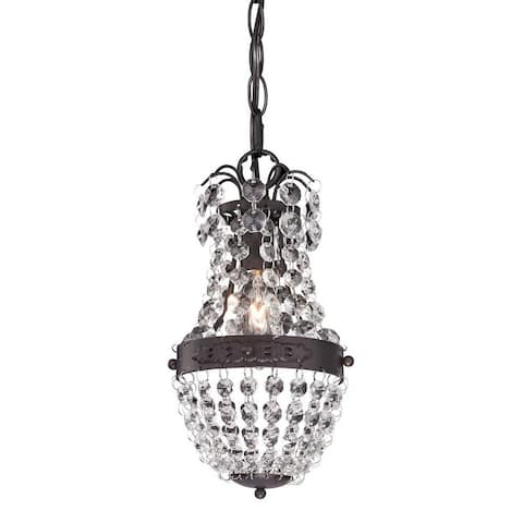 Clear Crystal Dark Bronze 1-Light Mini Pendant -Luxe-Glam Style Pendant Light - 5X9-Inches 60-Watt